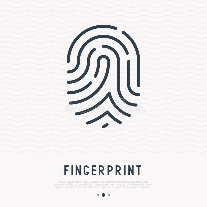 Odcisk palca cienka kreskowa ikona ilustracja wektor