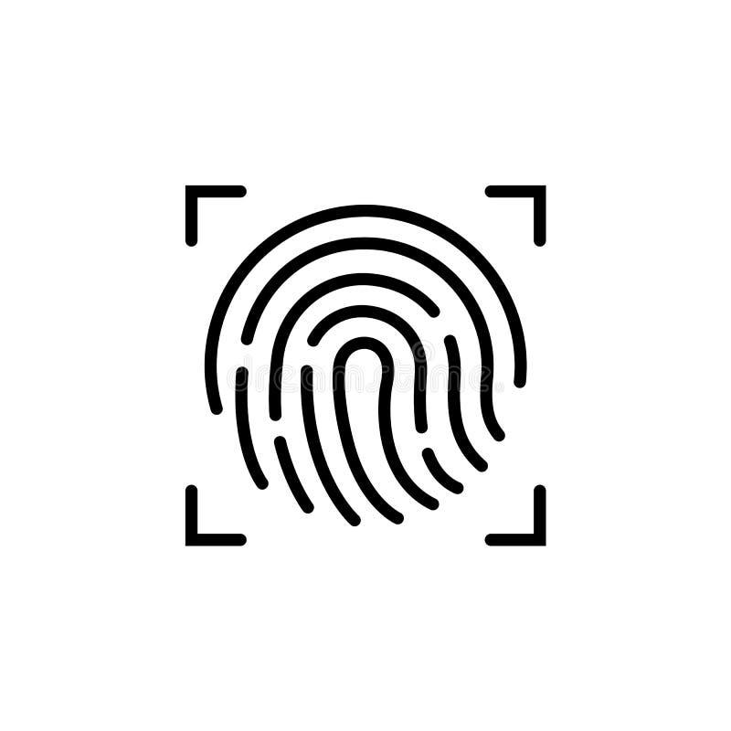Odcisk palca ikona Symbol dla grafiki i sieci projekta Płaska wektorowa ilustracja, EPS10 ilustracja wektor
