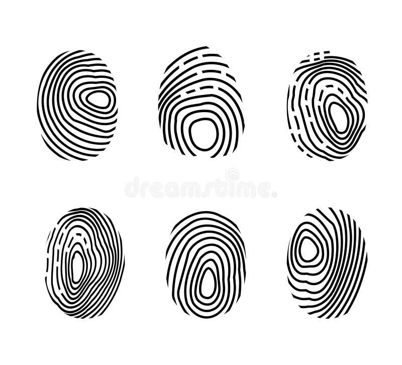 Odcisk palca ikony set. Skaner policyjny, ochrona tożsamości. Autoryzacja biometryczna technologii palca. wektor ilustracja wektor