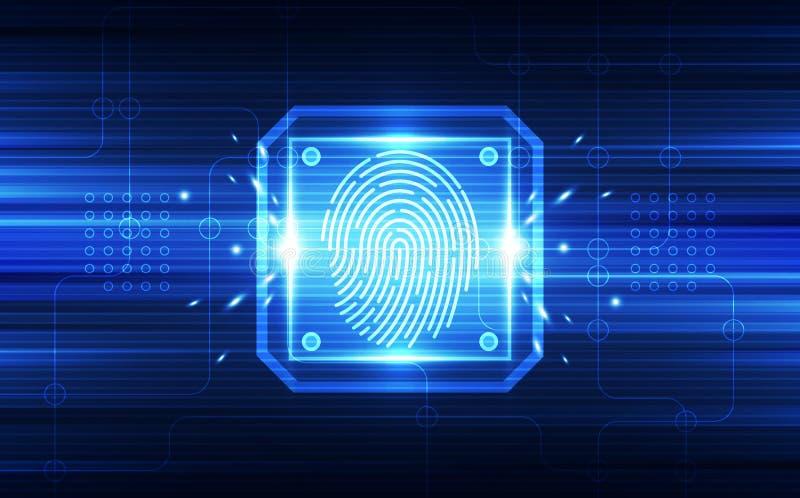 Odcisk palca integrujący w drukowanym obwodzie, uwalnia binarnych kody Odcisk palca Skanuje Tożsamościowego system Biometryczny a ilustracji