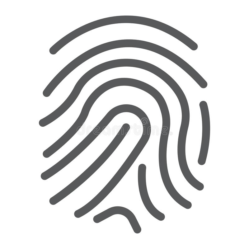 Odcisk palca kreskowa ikona, rozwój i biznes, royalty ilustracja