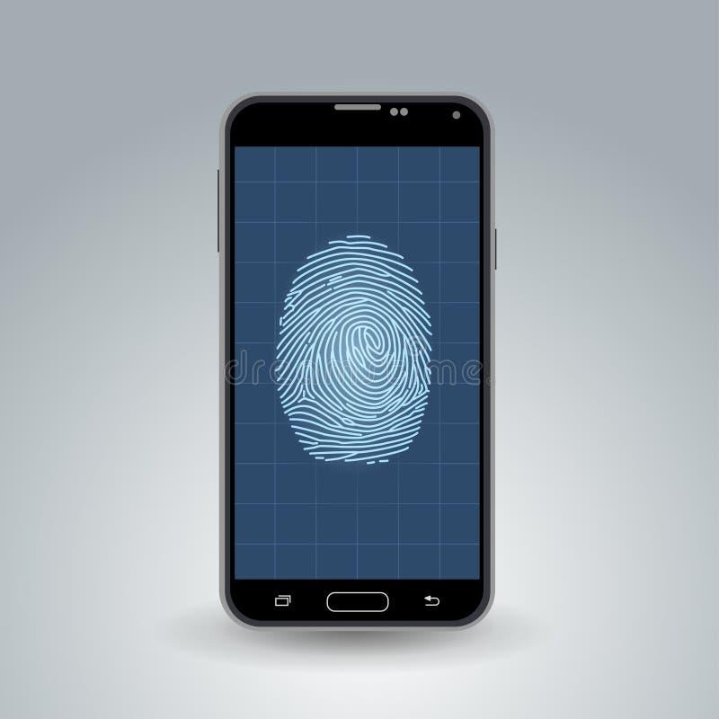 Odcisk palca na smartphone ilustracji