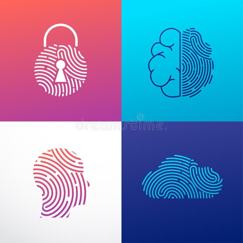 Odcisk palca obrazu cyfrowego logo, prywatność, cyber ochrona, tożsamości informacja i sieci ochrona, Osoby głowa, mózg, chmura royalty ilustracja