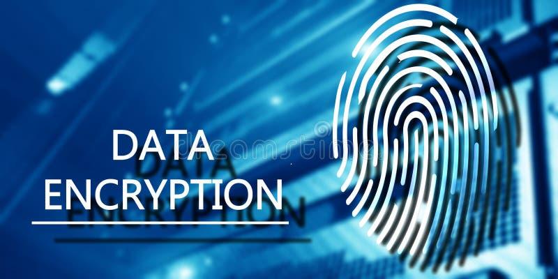 Odcisk palca ochrony pojęcie: Dane utajnianie na cyfrowym superkomputeru tle obraz royalty free