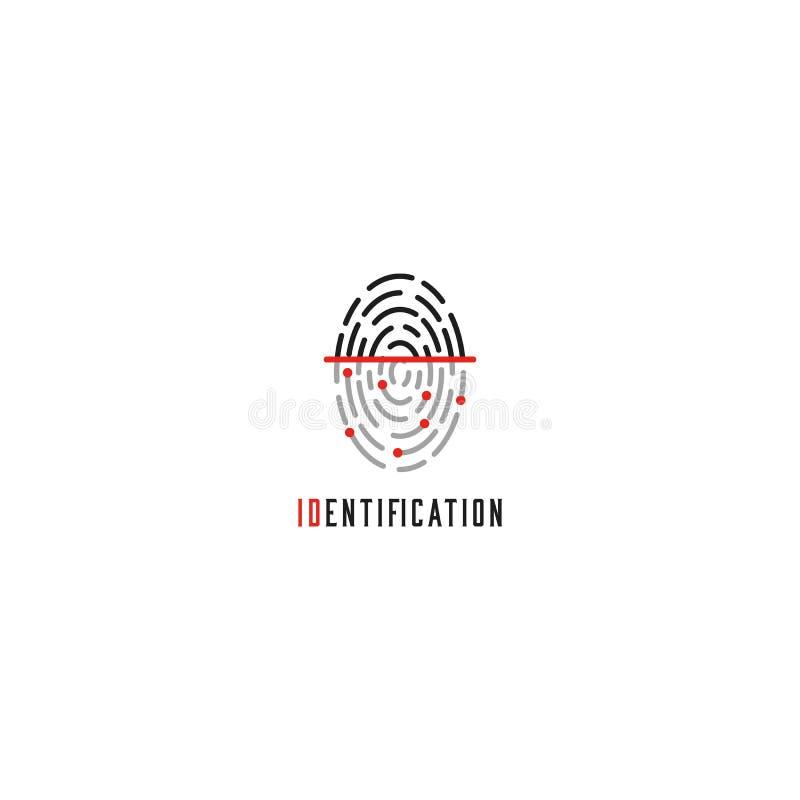Odcisk palca przeszukiwacza logo, tożsamościowy użytkownik - Id dotyka palec, autoryzacji thumbprint technologii ikona royalty ilustracja