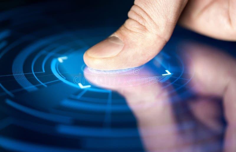 Odcisk palca rozpoznania technologia dla cyfrowej biometrycznej cyber ochrony, identyfikacji i zdjęcia royalty free