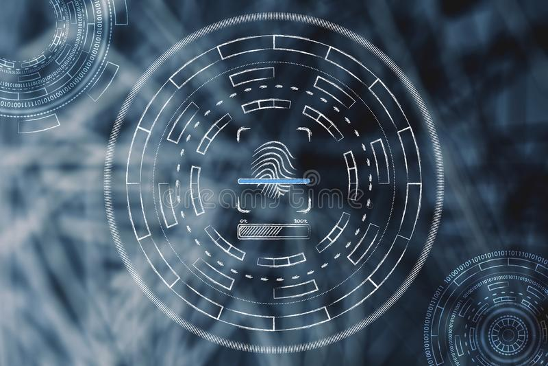 Odcisk palca skanuje i otaczający abstrakcjonistyczną technologią ilustracji