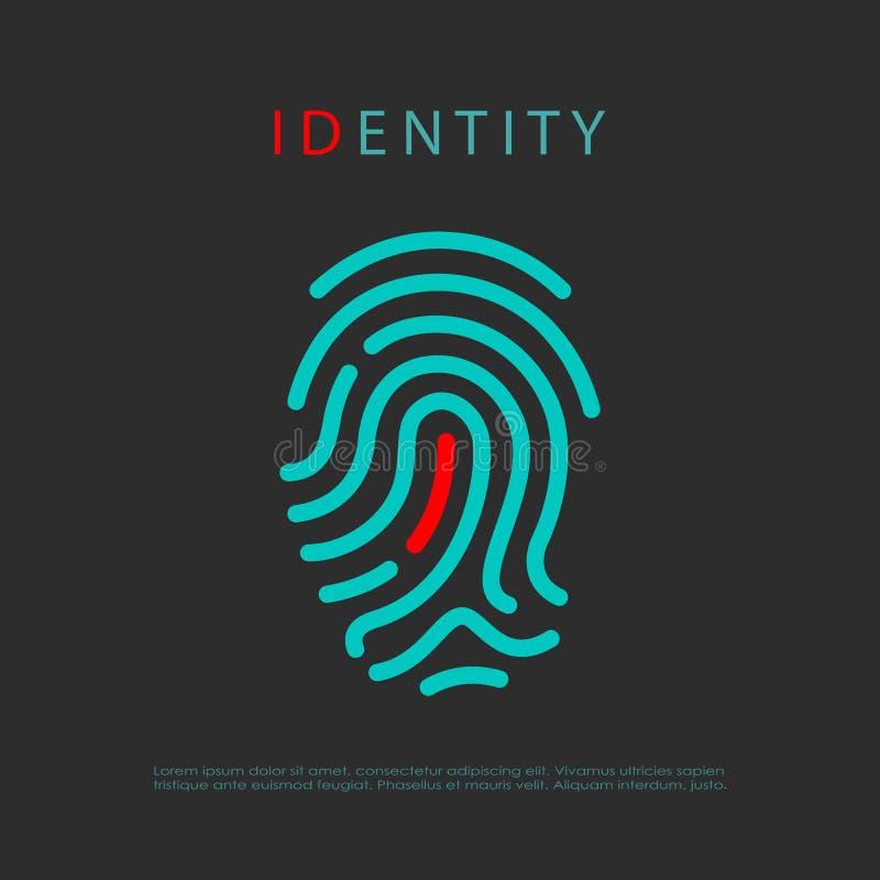 Odcisk palca tożsamości loga wektorowy pomysł ilustracji