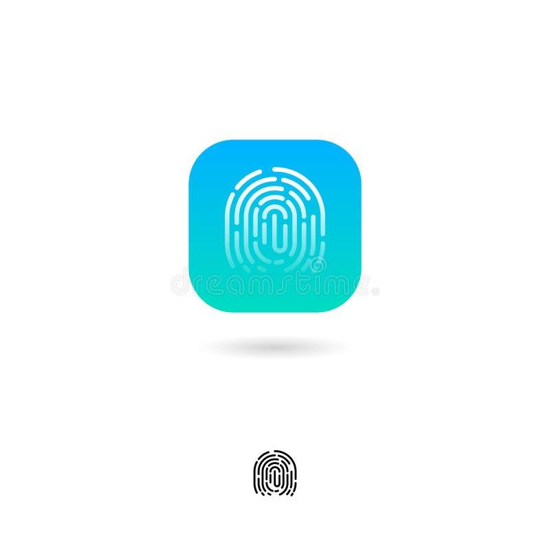 Odcisk palca, UI ikona tła ikony ciągnikowej sieci kołowy biel Odcisku palca systemu bezpieczeństwa piktogram G zieleń zaokrąglaj ilustracja wektor