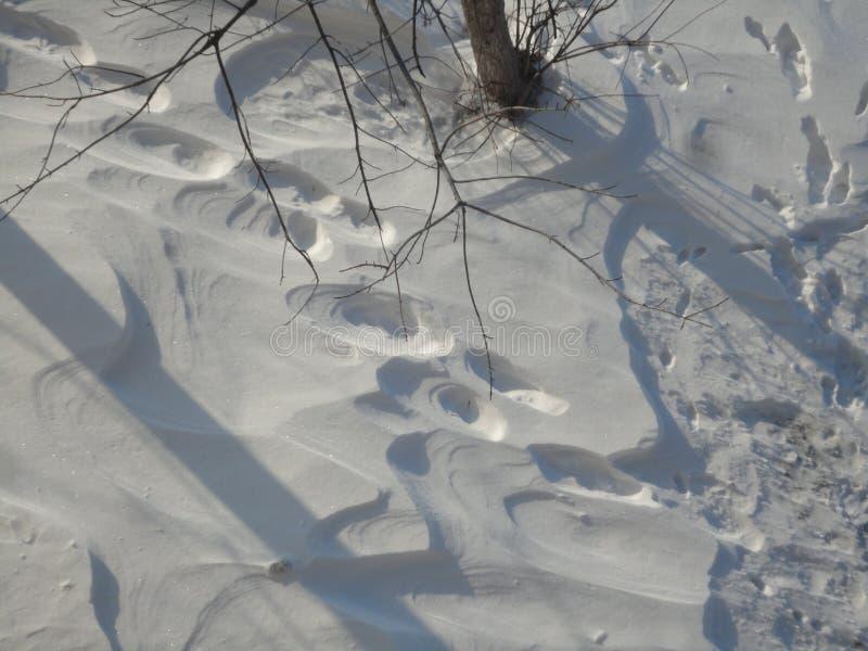 odcisk stopy czasu zimy śniegu zdjęcia stock