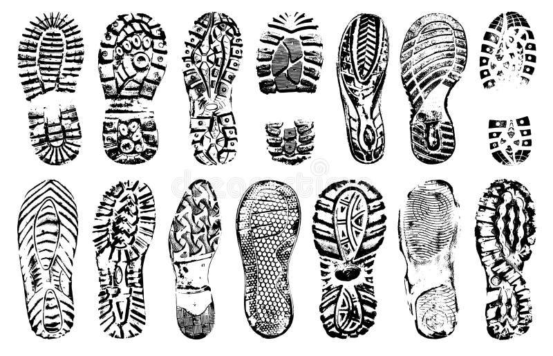 Odcisk stopy istota ludzka kuje sylwetkę, wektoru set, odizolowywający na białym tle royalty ilustracja