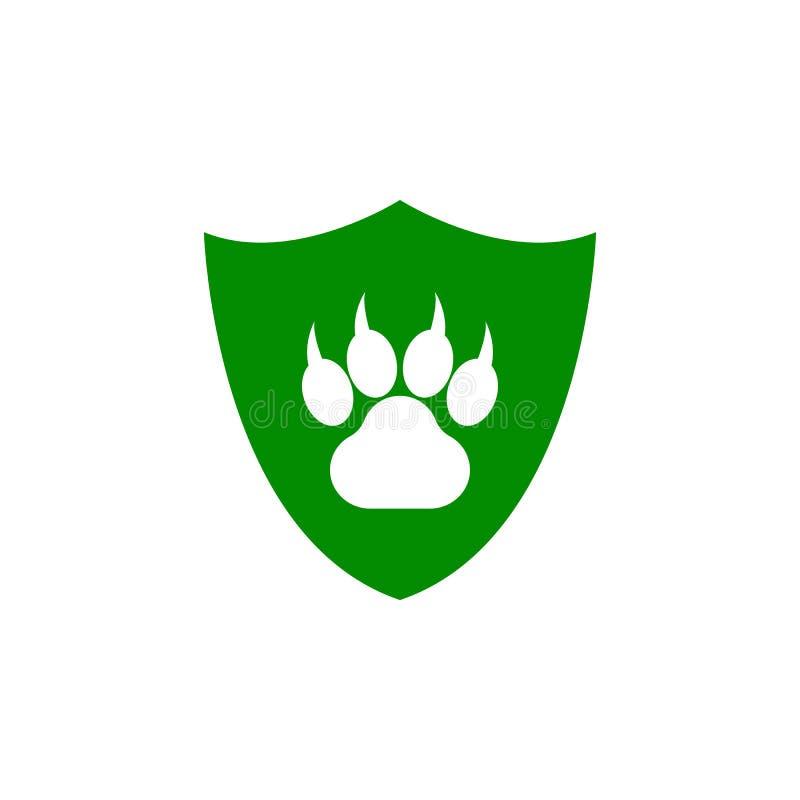 odcisk stopy zwierzę w osłony zieleni ikonie Element natury ochrony ikona dla mobilnych pojęcia i sieci apps Odosobniony footpri royalty ilustracja