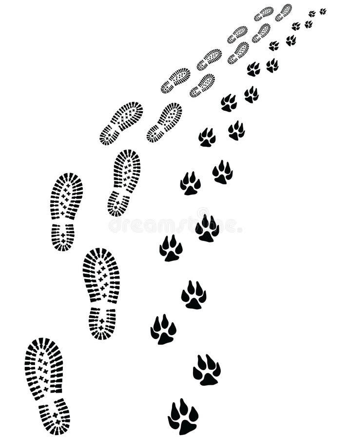 Odciski stopy mężczyzna i pies ilustracja wektor