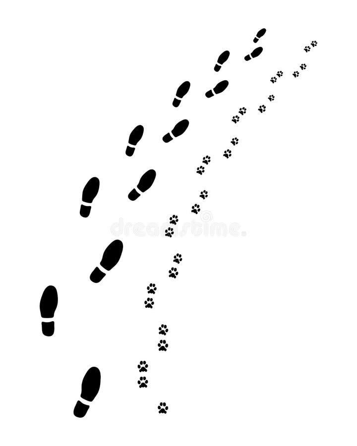 Odciski stopy mężczyzna i pies ilustracji