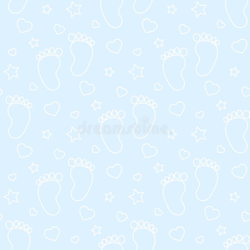 Odciski stopy obrysowywają chłopiec tło ilustracji