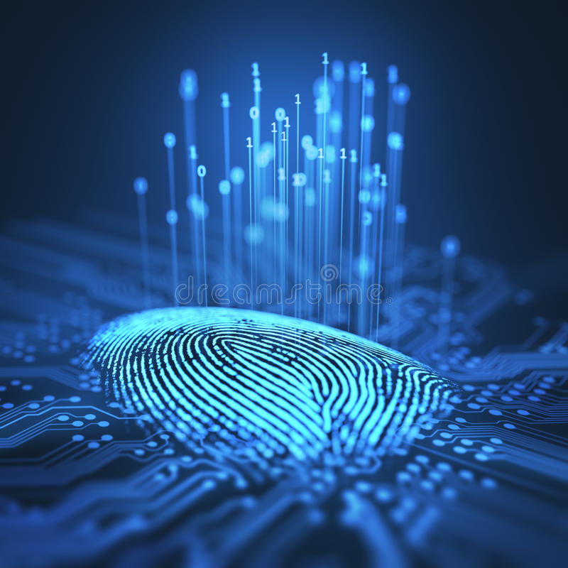 Odcisku palca Binarny mikroukład ilustracji