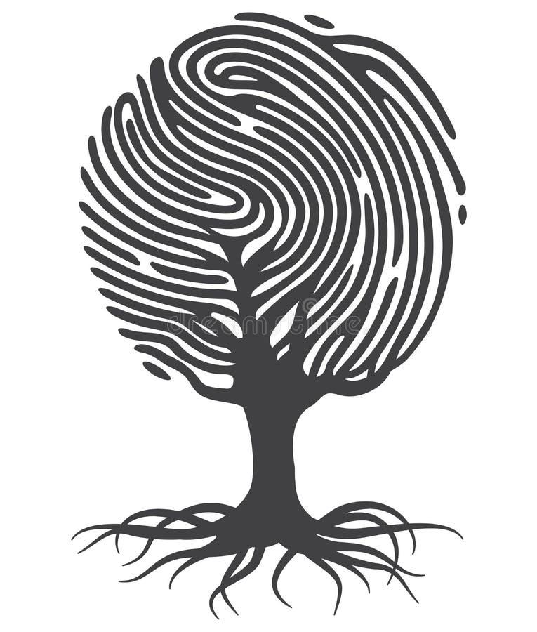 Odcisku palca drzewo ilustracja wektor