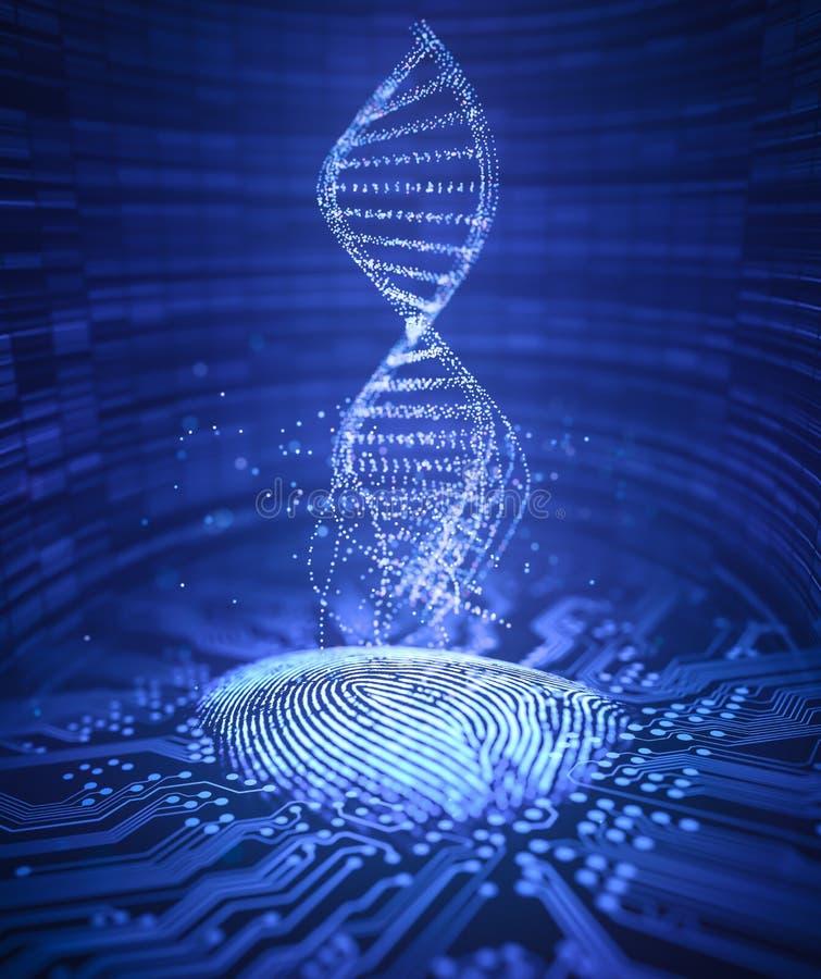 Odcisku palca Genetycznego kodu DNA ilustracji