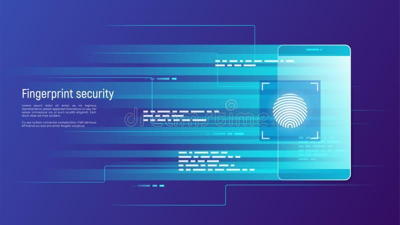 Odcisku palca ochrona, kontrola dostępu, autoryzacja i identifi, ilustracja wektor