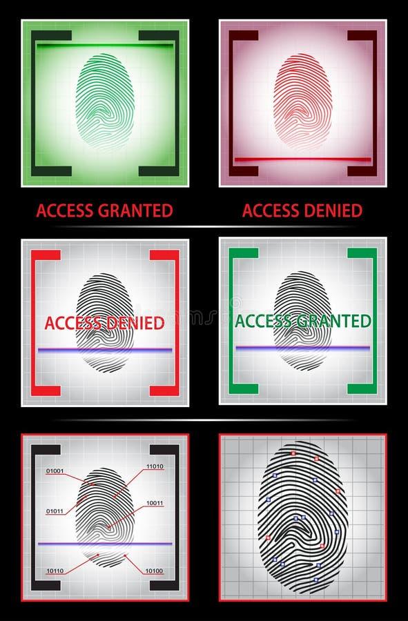 Odcisku palca przeszukiwacz Dostęp użyczający zaprzeczającym Set również zwrócić corel ilustracji wektora ilustracja wektor