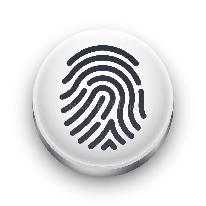 Odcisku palca przeszukiwacza ikona Biały round guzik z czarnym odcisk palca kształtem royalty ilustracja