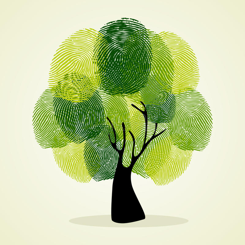 Odcisku palca tła drzewny set ilustracji