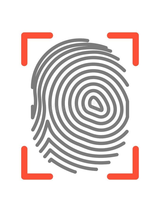 Odcisku palca znak odizolowywający na białej płaskiej wektorowej ilustraci ilustracja wektor