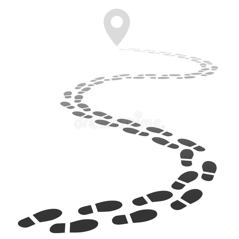 Odcisku stopy ślad Kroki chodzący śnieżny ślad Footpath drogowy daleko od w perspektywie odizolowywał wektorową ilustrację ilustracja wektor