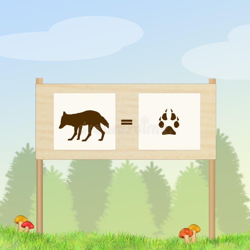 Odcisku stopy lis w drewnie royalty ilustracja