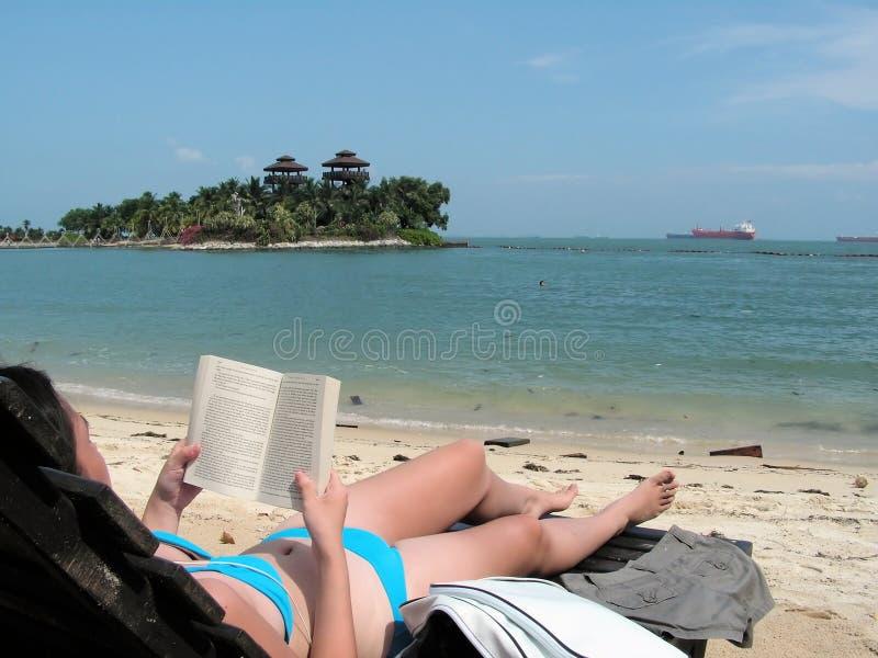 odczyt na plaży zdjęcia royalty free
