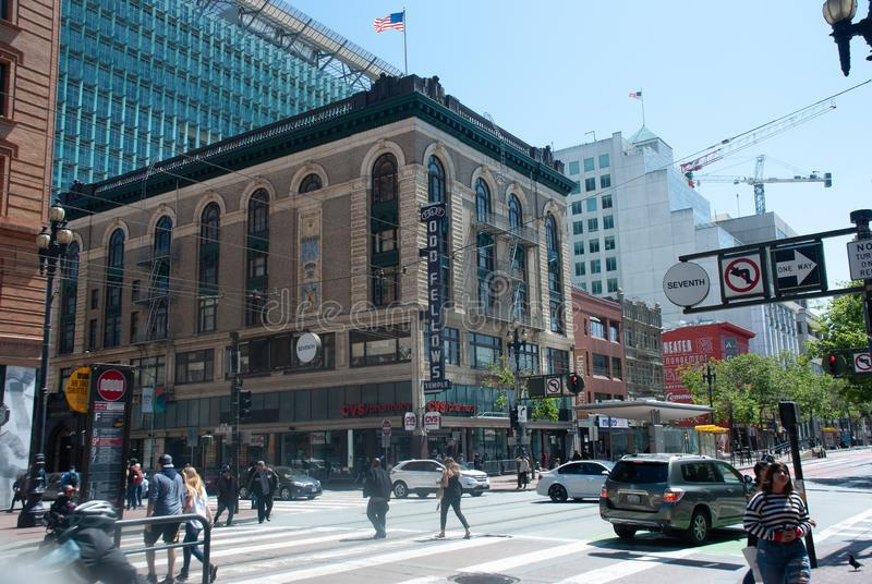 Odd Fellows Historic Building zevende en Markt St San Francisco stock afbeeldingen