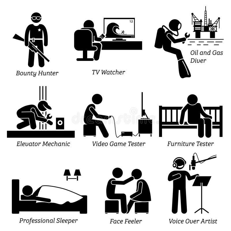 Odd Jobs inusual extraño y empleos Clipart stock de ilustración