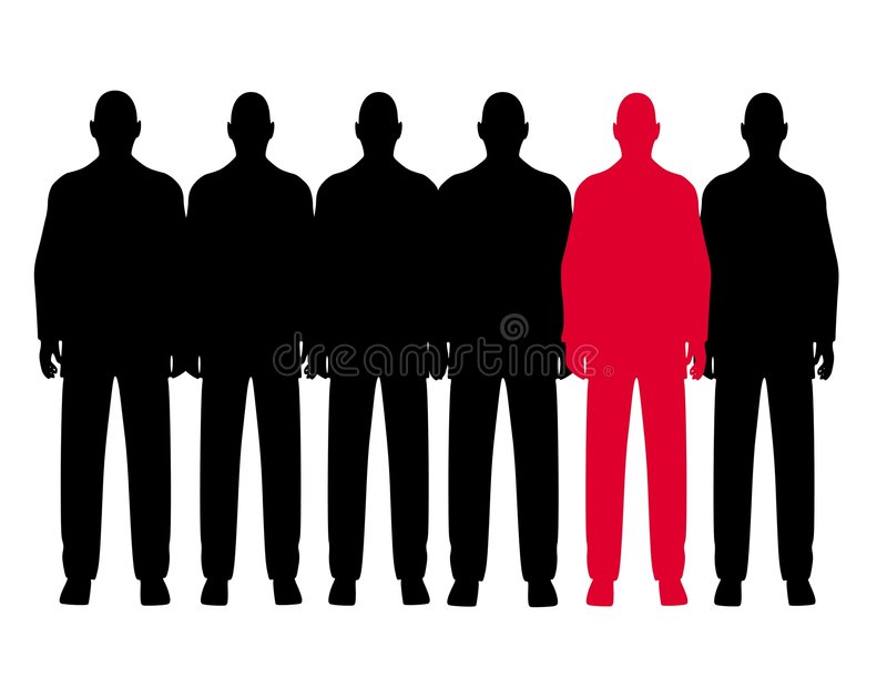 Download The Odd Man Out Row Of Men Royalty Free Stock Photos - Image: 4290128