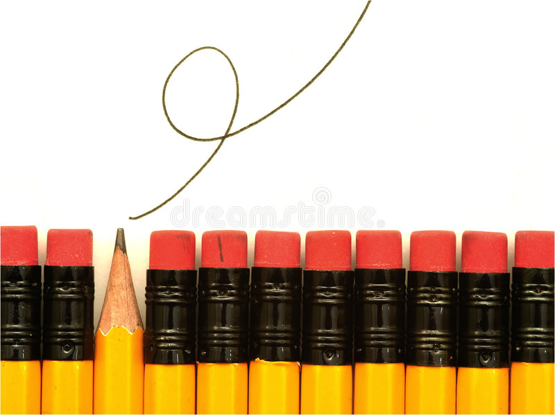 Odd One Out. Row of HB pencils, plus squiggle