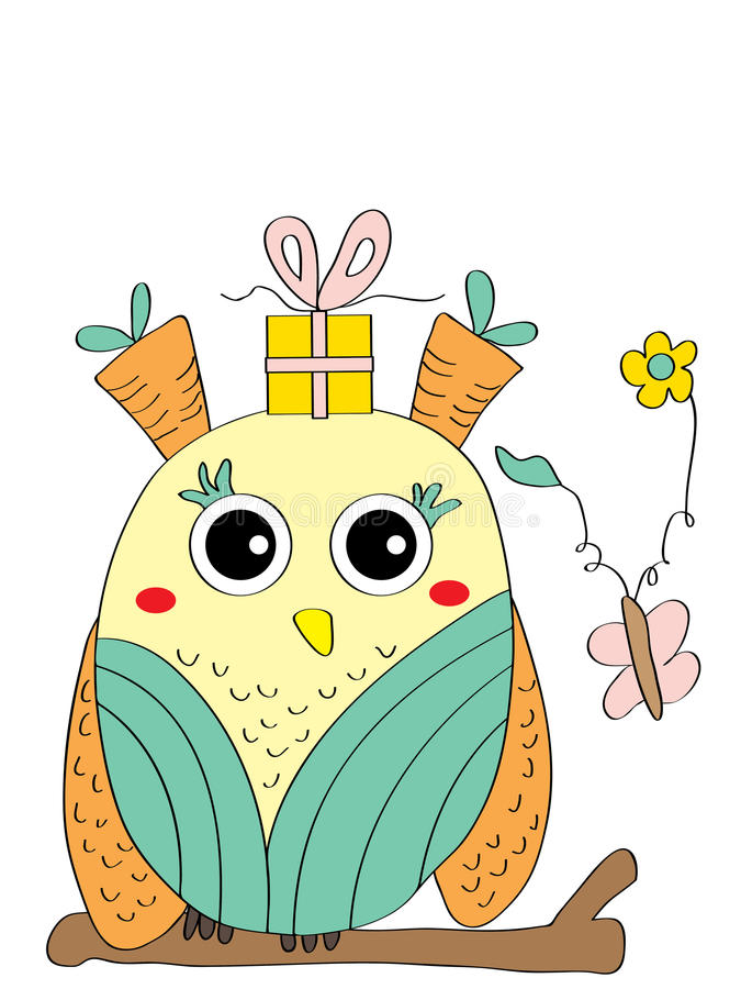 Odd owl card. Illustration abstract odd owl card gift butterfly white background stock illustration