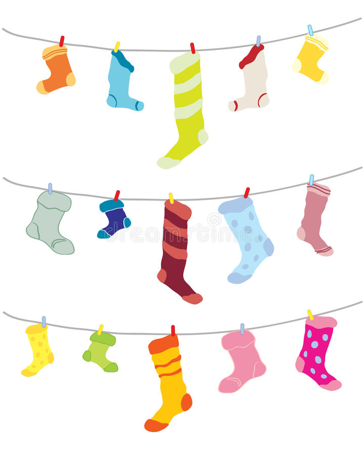 Odd socks. A hand drawn illustration of odd socks hanging on a washing line in different colors stock illustration