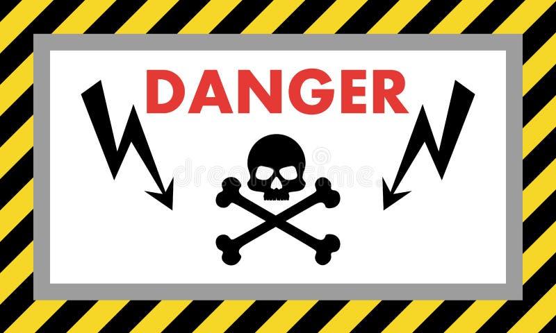 oddalonego niebezpieczeństwa wysoki utrzymania woltaż Znak ostrzegawczy z czaszki strzała i wzorem również zwrócić corel ilustrac ilustracji