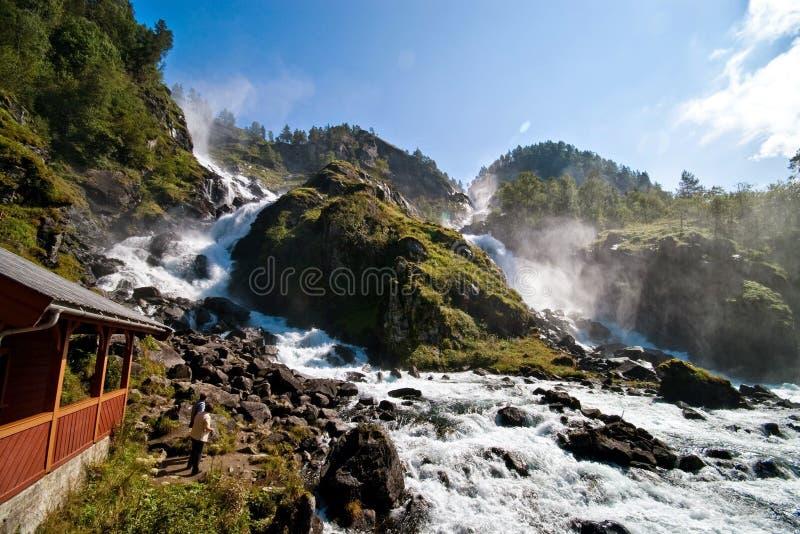 Oddawatervallen, Noorwegen stock fotografie