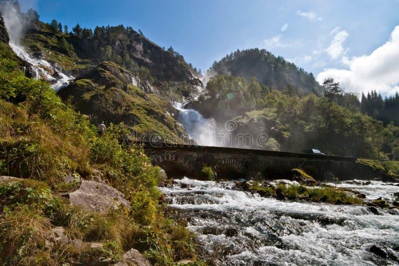 Oddawatervallen, Noorwegen royalty-vrije stock foto