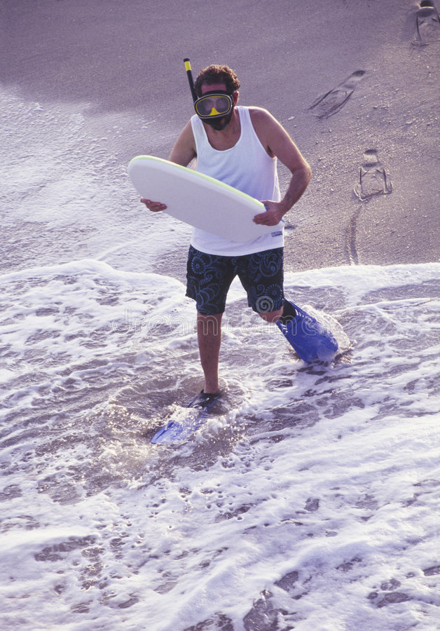 Download Oddball Man With Boogie Board At Beach Stock Image - Image: 5948675