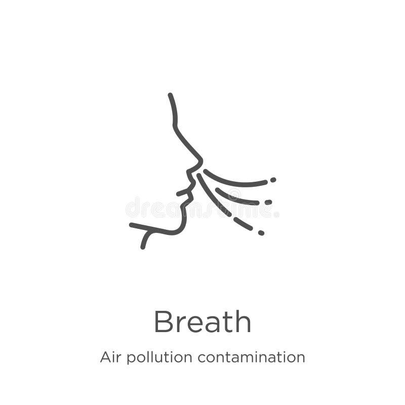 oddech ikony wektor od zanieczyszczenie powietrza kontaminowania kolekcji Cienka kreskowa oddechu konturu ikony wektoru ilustracj ilustracji