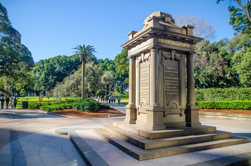 `Oddfellows memorial` is drinking fountain consists of a pink granite and sandstone monolith obelisk set on a stepped sandstone. stock image