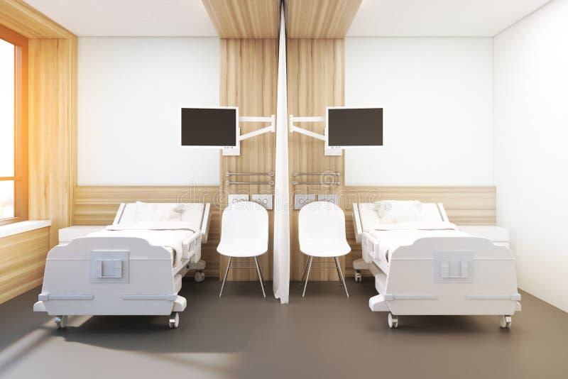 Oddział z dwa łóżkami, stonowany wizerunek royalty ilustracja