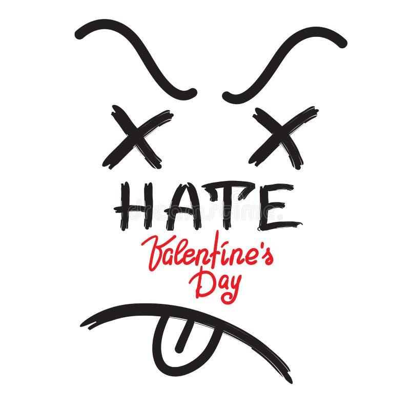 Odeie o dia de Valentim - anti-cartão escrito à mão, anti-felicitações, humor preto ilustração royalty free