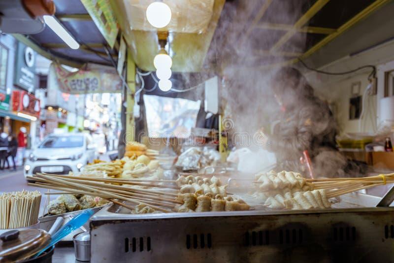 Oden, Tteokbokki, Kimpap - Korean street food. In winter season stock photography
