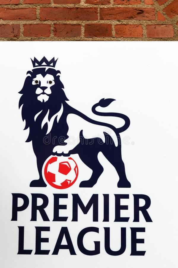 Premier league logo on a wall. Odense, Denmark - August 16, 2018: Premier league logo on a wall. Premier league is the top level of the English football league royalty free stock images