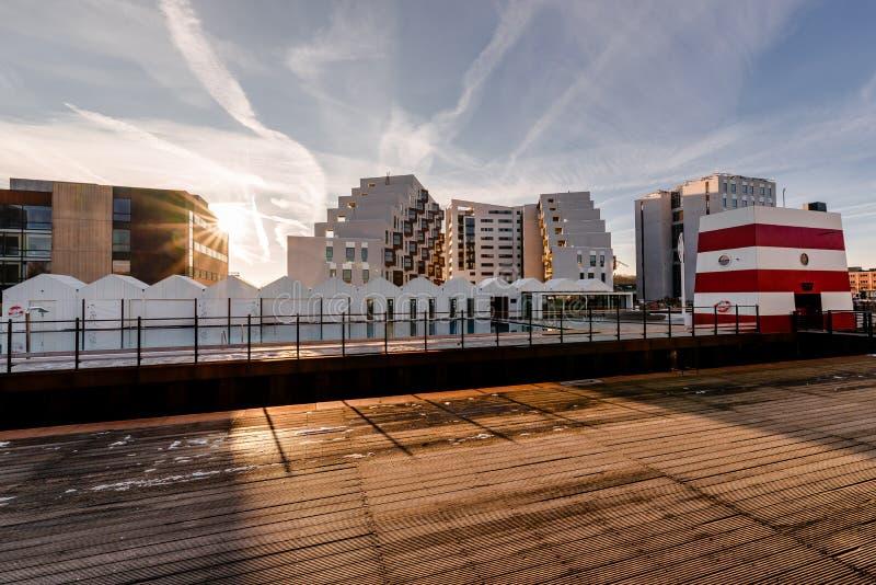 Odense outdoor harbor swimming pool, Denmark.  stock image