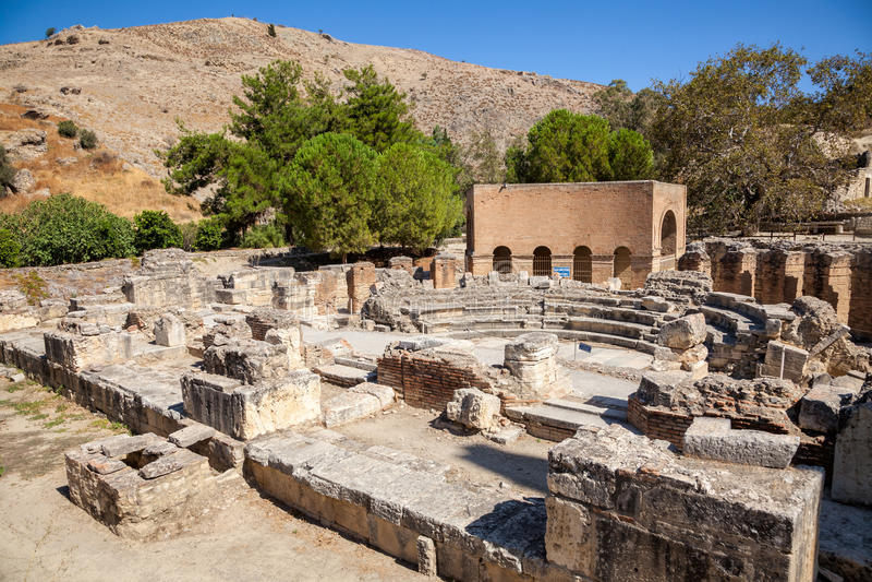 Odeon废墟, Gortyn考古学站点,克里特岛,希腊, 免版税图库摄影