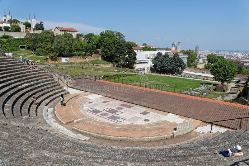 Odeon, римский театр Fourviere стоковое фото rf