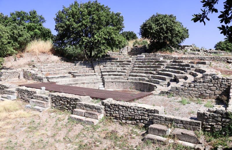 Odeon Bouleuterion, liten konsertteater i den Troy staden, Turkiet fotografering för bildbyråer
